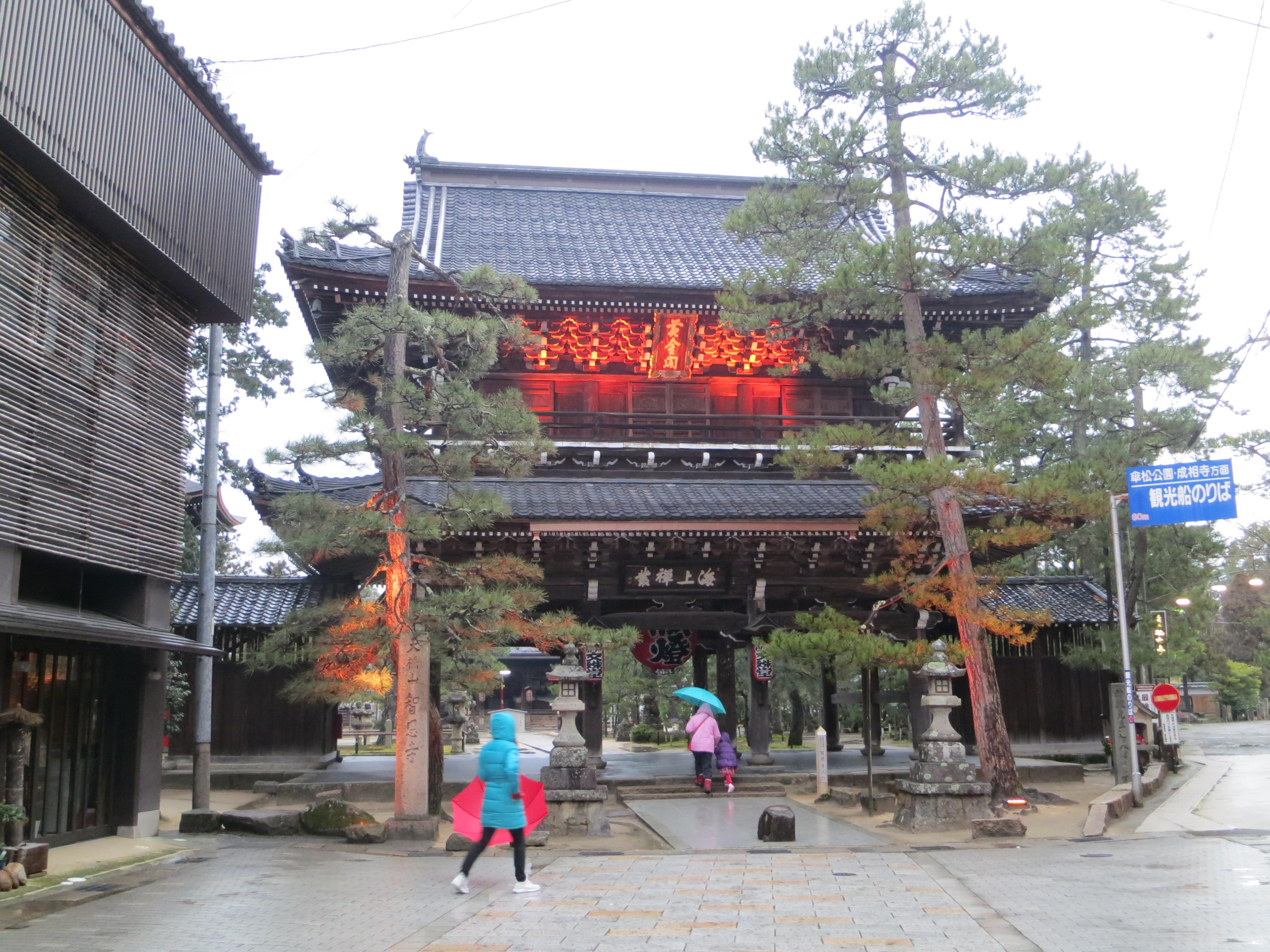 190226 智恩寺の山門のライトアップ